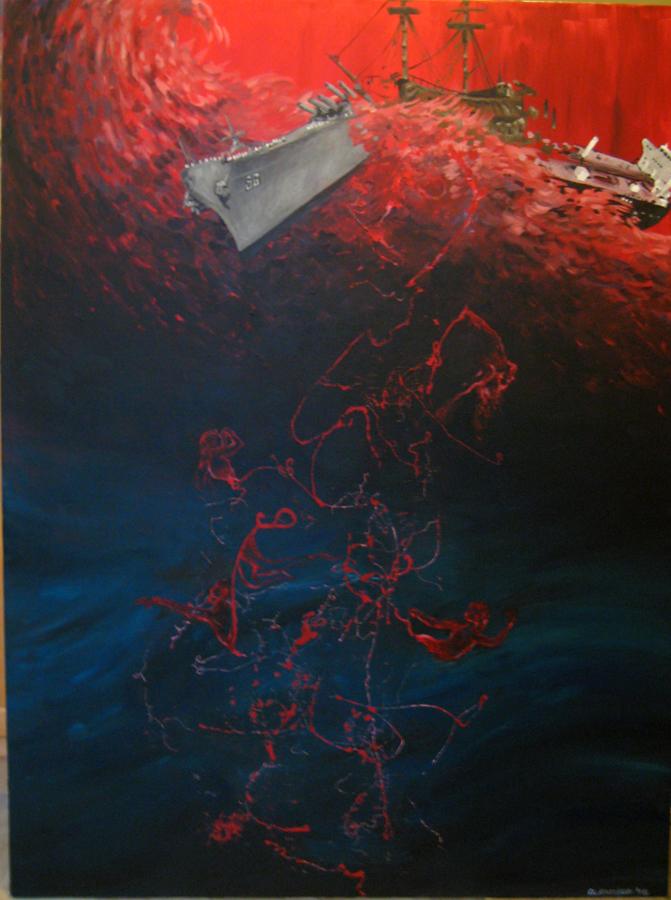 The Spill- 3' x 4'- Acrylic on canvas