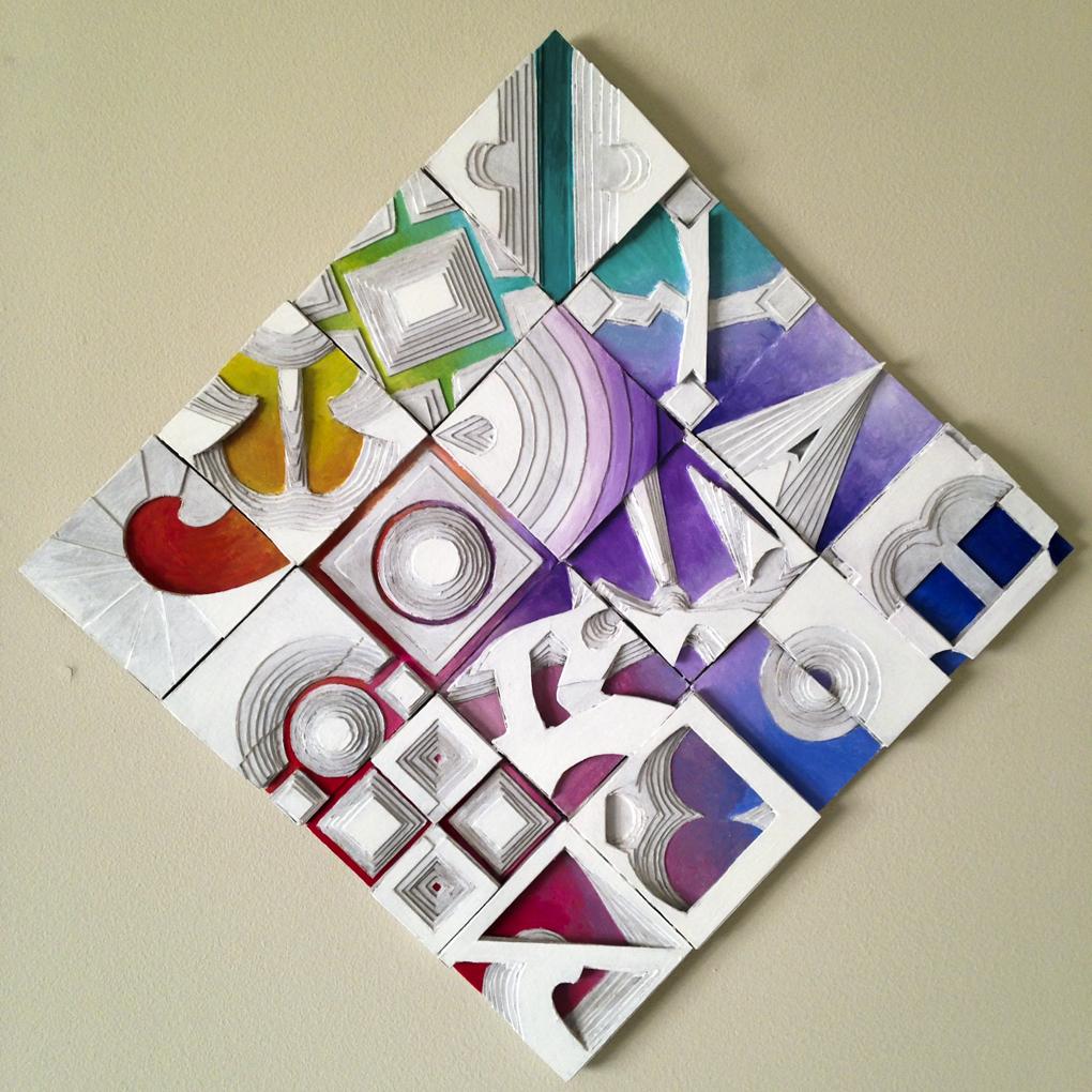 Steps- by Damon Kardon- 17inx17in-Acrylic.Wood.Cardboard