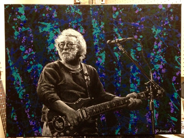 Jerry with Guitar- by Damon Kardon- 18inx24in-acrylic on canvas