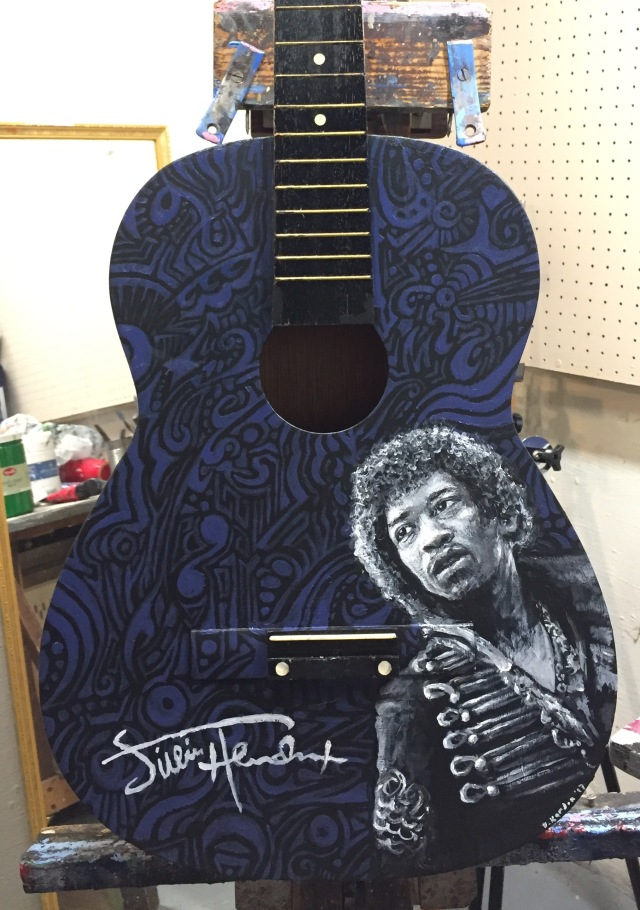 """Jimi""-2017- Acrylic on Guitar"